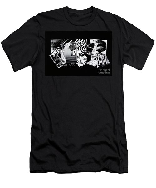 Men's T-Shirt (Slim Fit) featuring the mixed media 2d Elements In Black And White by Xueling Zou