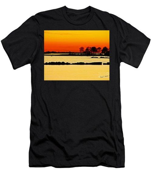 Ocean Beach Sunset Men's T-Shirt (Slim Fit) by Carol F Austin