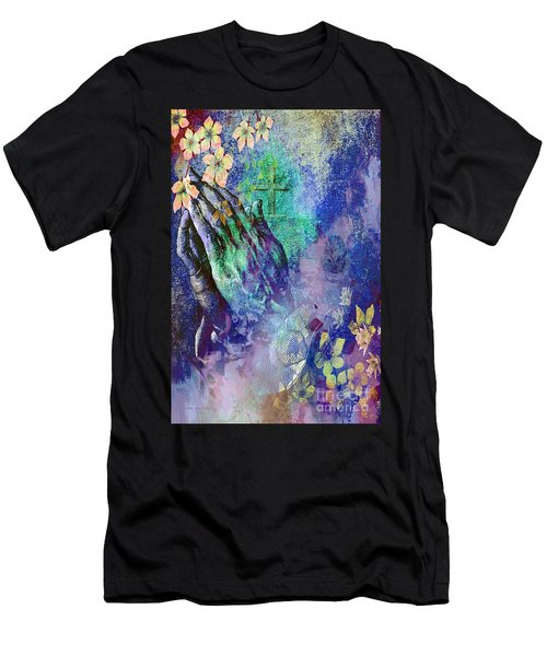 Praying Hands Flowers And Cross Men's T-Shirt (Athletic Fit)