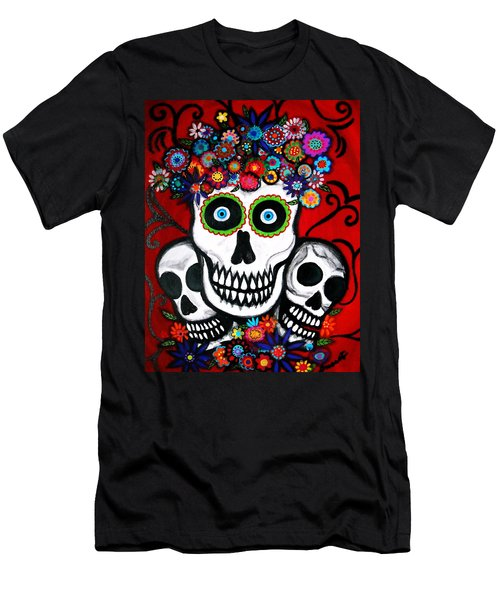 3 Skulls Men's T-Shirt (Slim Fit) by Pristine Cartera Turkus