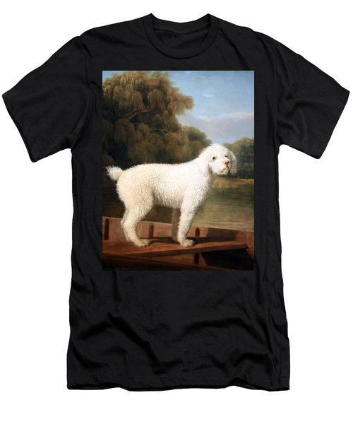 Stubbs' White Poodle In A Punt Men's T-Shirt (Slim Fit) by Cora Wandel