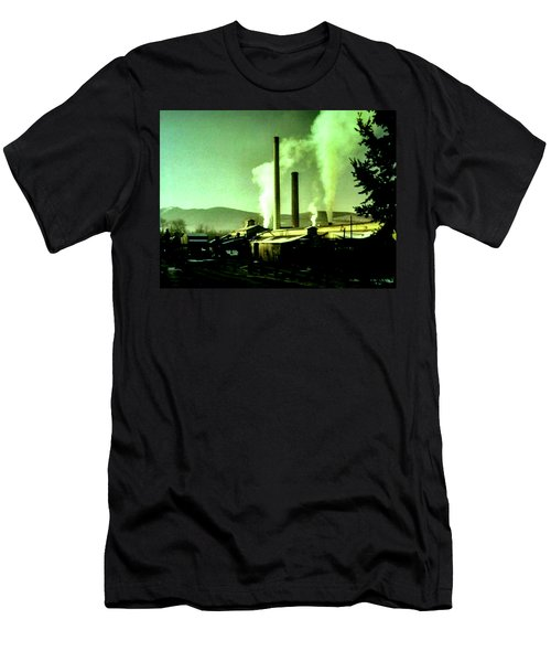 Men's T-Shirt (Slim Fit) featuring the painting Twin Peaks by Luis Ludzska