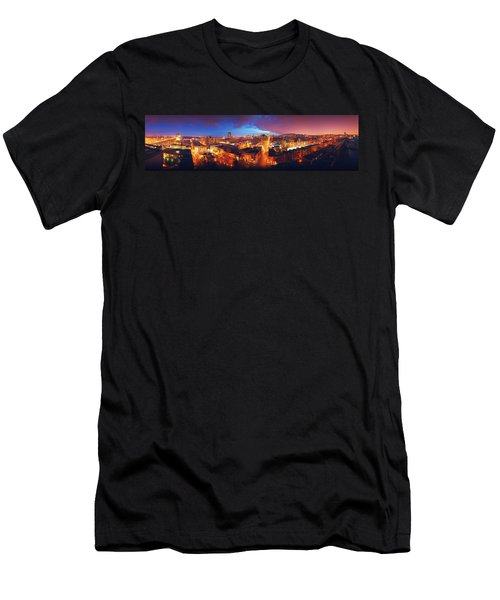 High Angle View Of A City Lit Men's T-Shirt (Athletic Fit)