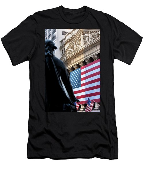Men's T-Shirt (Athletic Fit) featuring the photograph Wall Street Flag by Brian Jannsen