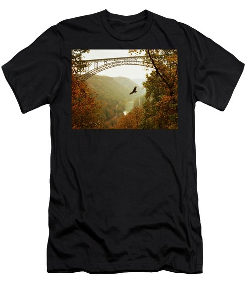 New River Gorge Bridge Men's T-Shirt (Slim Fit) by Mary Almond