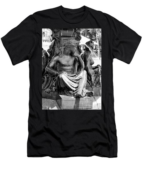 Brewer Fountain Boston Ma Black And White Men's T-Shirt (Athletic Fit)