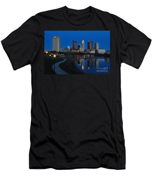 Columbus Ohio Skyline At Night Men's T-Shirt (Athletic Fit)