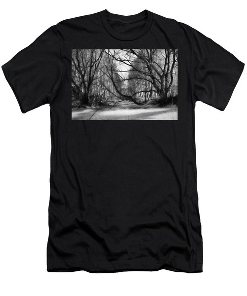 9 Black And White Artistic Painterly Icy Entrance Blocked By Braches Men's T-Shirt (Slim Fit) by Leif Sohlman