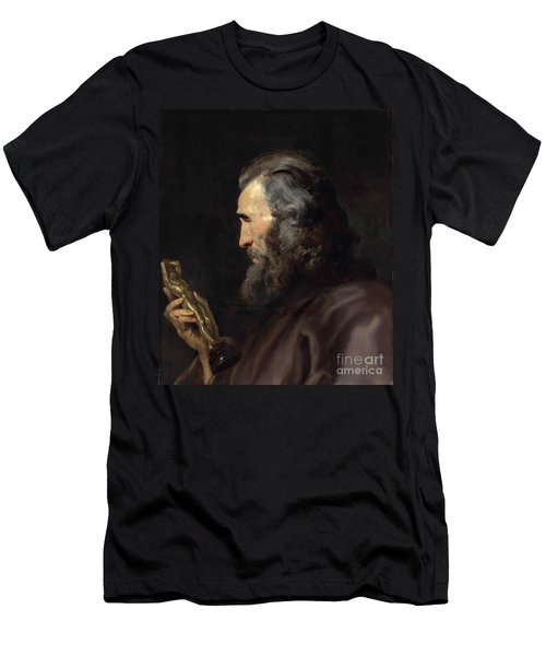 A Bearded Man In Profile Holding A Bronze Figure Men's T-Shirt (Athletic Fit)