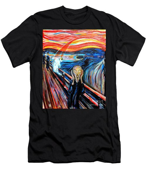 A Cat For Edvard Munch_ Annie Passing Through Men's T-Shirt (Athletic Fit)