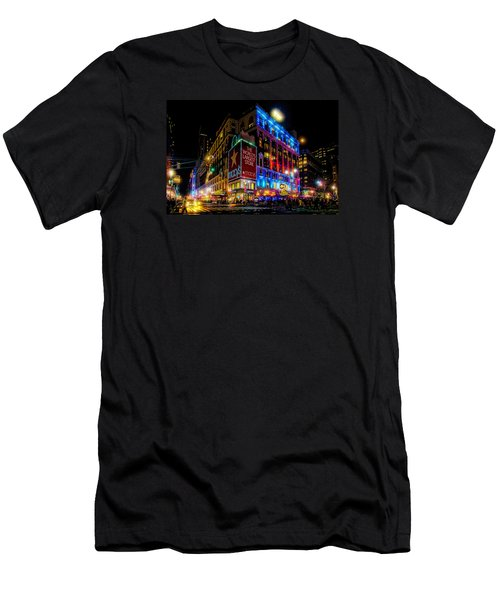 Men's T-Shirt (Athletic Fit) featuring the photograph A December Evening At Macy's  by Chris Lord
