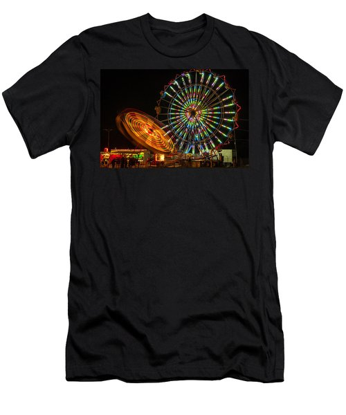 Men's T-Shirt (Slim Fit) featuring the photograph Colorful Carnival Ferris Wheel Ride At Night by Jerry Cowart