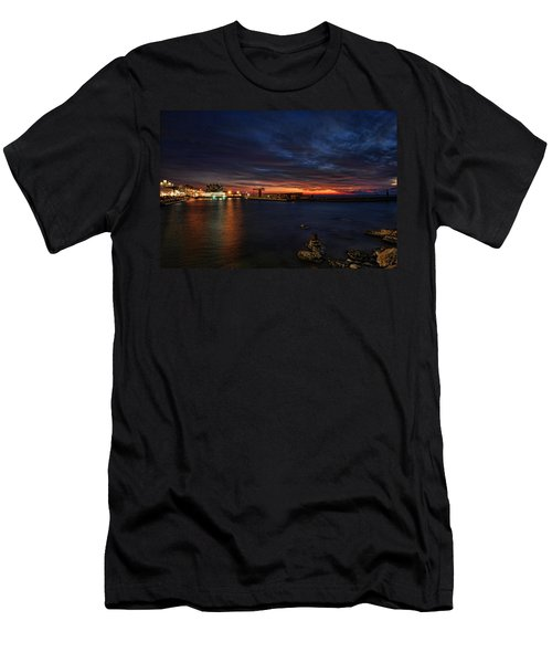 a flaming sunset at Tel Aviv port Men's T-Shirt (Athletic Fit)