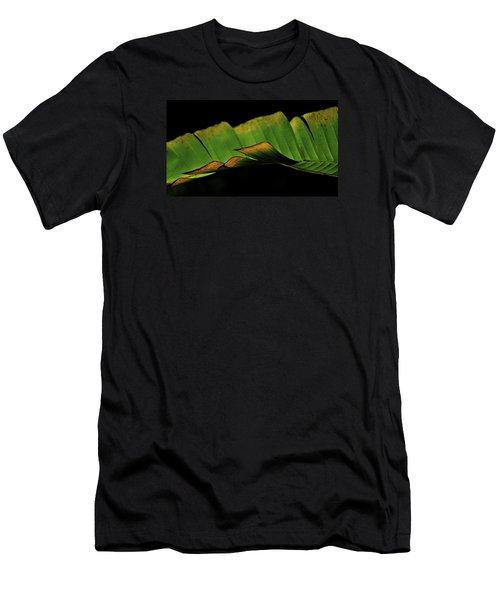 Men's T-Shirt (Slim Fit) featuring the photograph A Floating Heliconia Leaf by Lehua Pekelo-Stearns