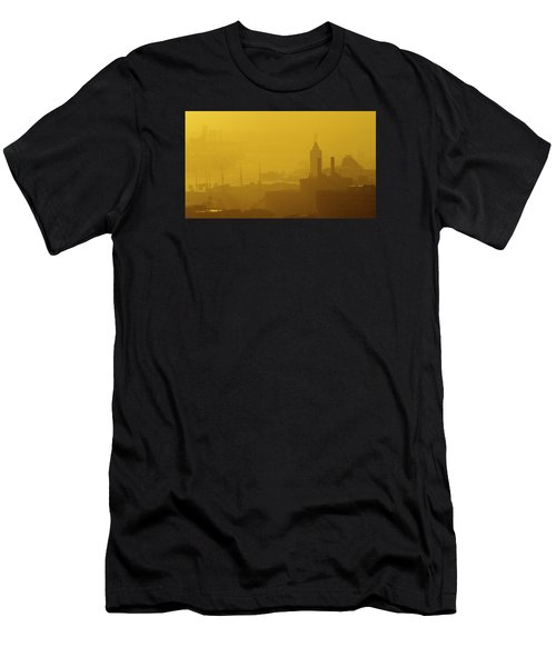 A Foggy Golden Sunset In Honolulu Harbor Men's T-Shirt (Athletic Fit)