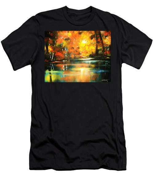 A Light In The Forest Men's T-Shirt (Slim Fit) by Al Brown