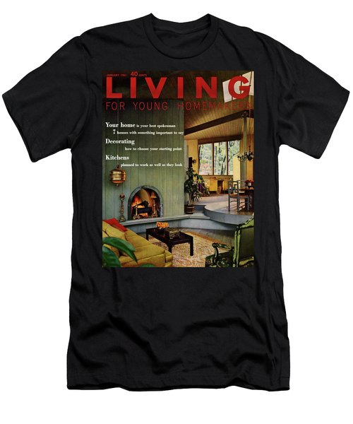 A Living Room With Sherwin-williams Wood-paneling Men's T-Shirt (Athletic Fit)