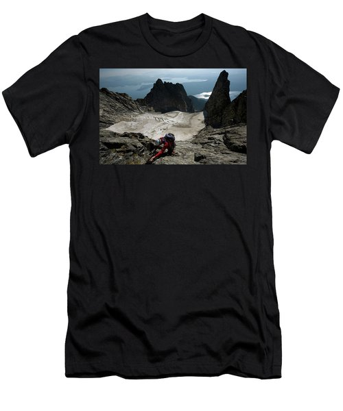 A Male Climber Climbs Mt. Moran Men's T-Shirt (Athletic Fit)