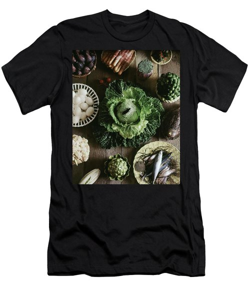 A Mixed Variety Of Food And Ceramic Imitations Men's T-Shirt (Athletic Fit)