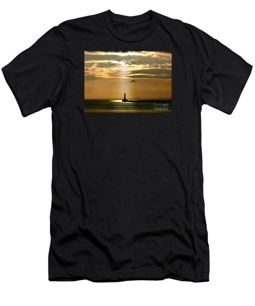 Roker Pier Sunderland Men's T-Shirt (Slim Fit) by Morag Bates