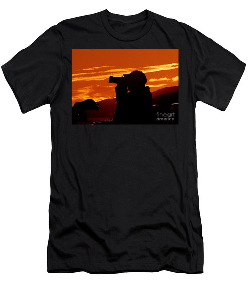 Men's T-Shirt (Slim Fit) featuring the photograph A Photographer Enjoying His Work by Kathy Baccari