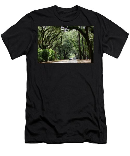 A Pretty Tree Covered Road Somewhere On Hilton Head Island Men's T-Shirt (Athletic Fit)