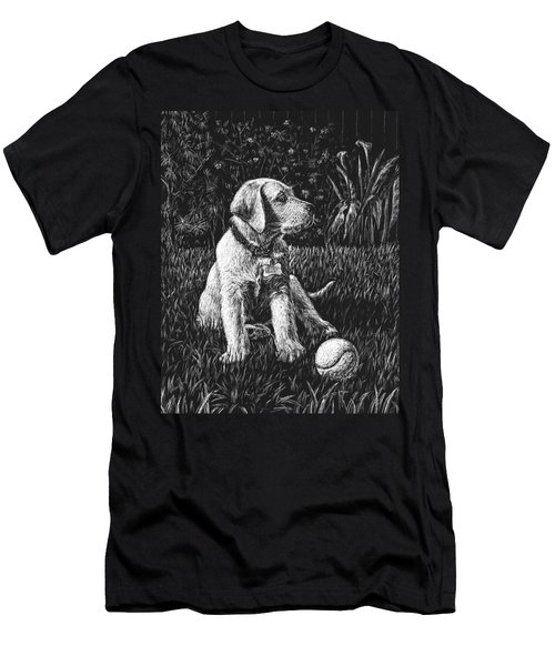 A Puppy With The Ball Men's T-Shirt (Athletic Fit)