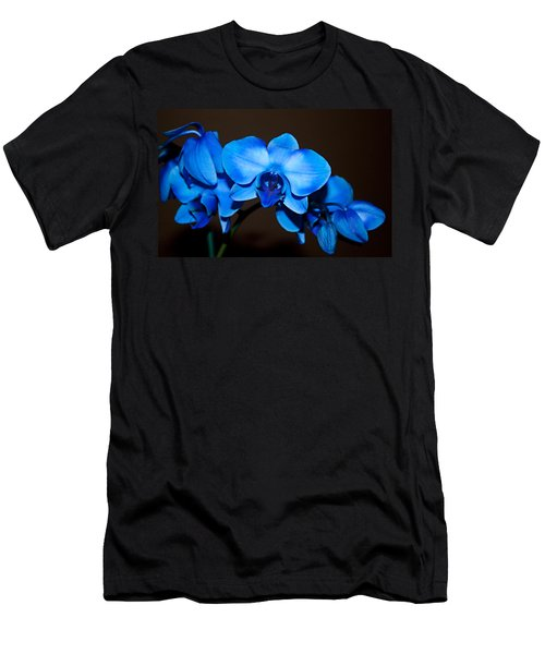 Men's T-Shirt (Slim Fit) featuring the photograph A Stem Of Beautiful Blue Orchids by Sherry Hallemeier