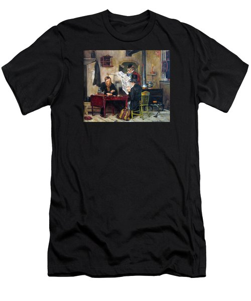 Men's T-Shirt (Slim Fit) featuring the painting A Study Of Waiting For The Stage by Donna Tucker