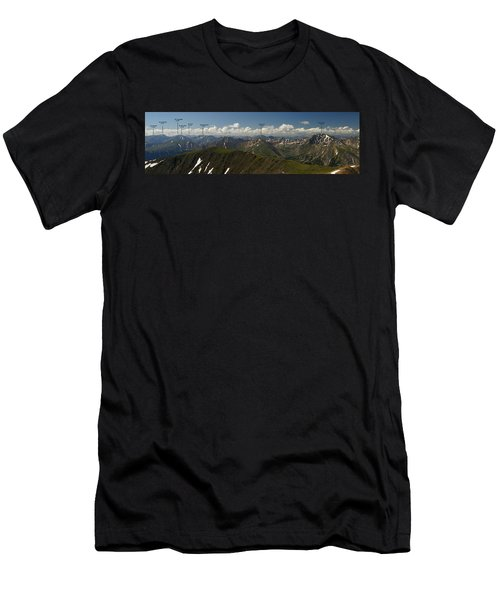 A Summit View Panorama With Peak Labels Men's T-Shirt (Athletic Fit)