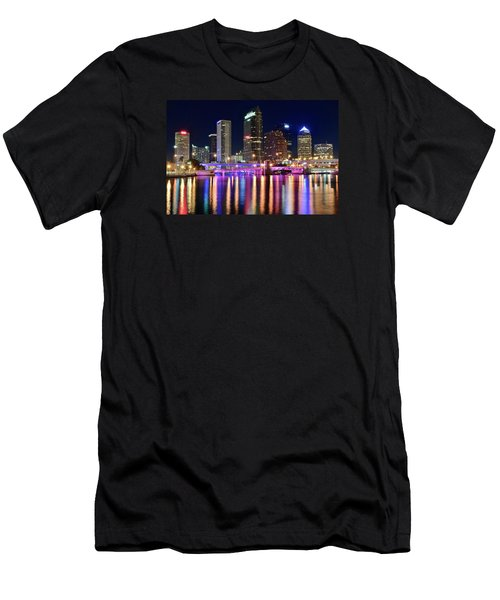 A Tampa Bay Night Men's T-Shirt (Slim Fit) by Frozen in Time Fine Art Photography