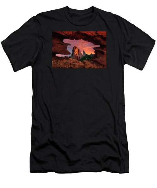 A View Through Window Rock At Siamese Twins Men's T-Shirt (Athletic Fit)