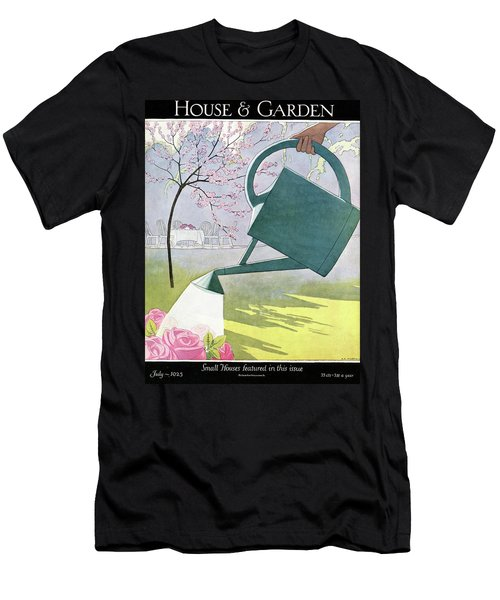 A Watering Can Above Pink Roses Men's T-Shirt (Athletic Fit)