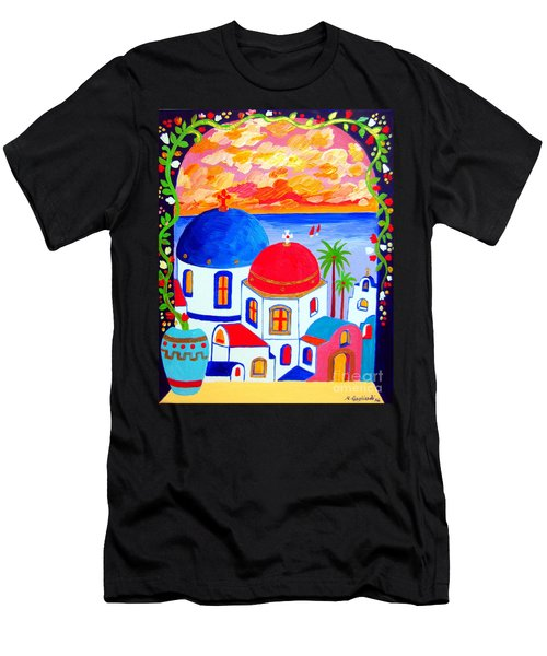 A Window Over Santorini Men's T-Shirt (Slim Fit) by Roberto Gagliardi