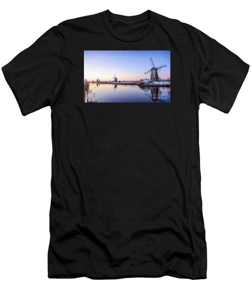 Men's T-Shirt (Athletic Fit) featuring the photograph A Cold Winter Morning With Some Windmills In The Netherlands by IPics Photography