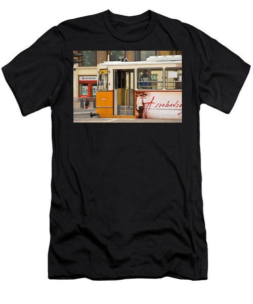 A Yellow Tram On The Streets Of Budapest Hungary Men's T-Shirt (Athletic Fit)
