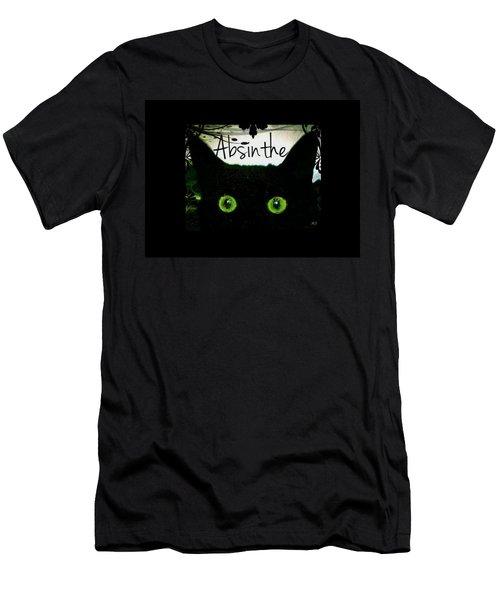 Absinthe Black Cat Men's T-Shirt (Slim Fit) by Absinthe Art By Michelle LeAnn Scott