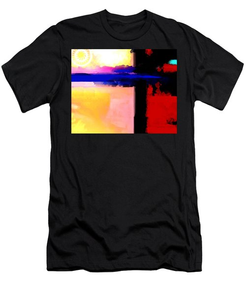Men's T-Shirt (Slim Fit) featuring the painting Abstract Impressions Of A Blue Horizon by Karon Melillo DeVega