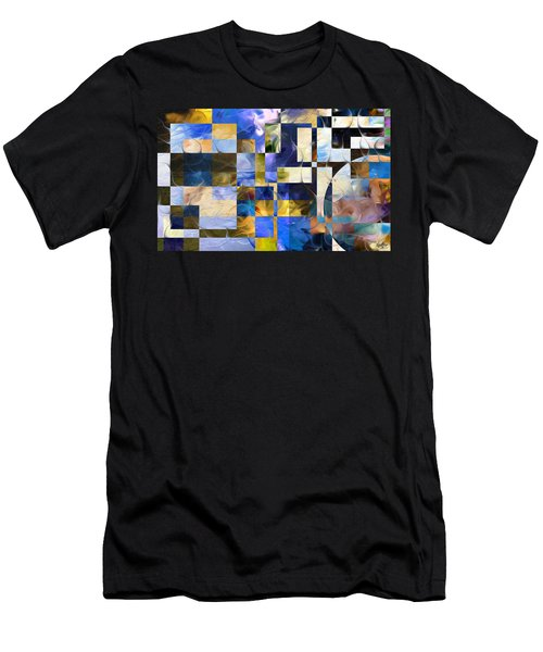 Men's T-Shirt (Slim Fit) featuring the painting Abstract In Blue And White by Curtiss Shaffer