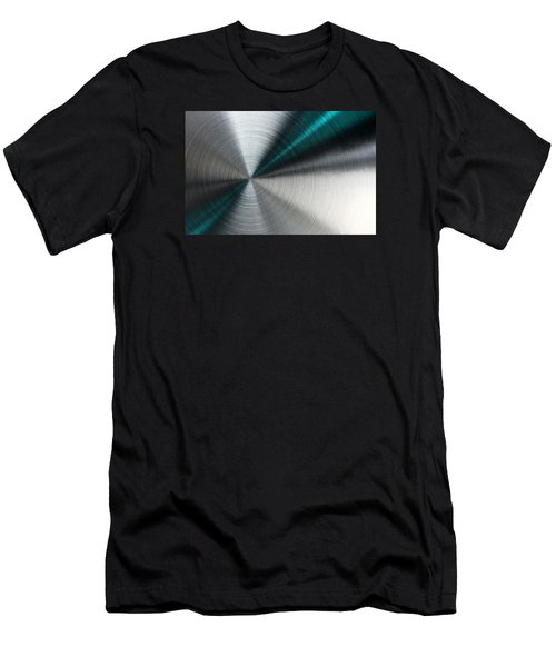 Abstract Metallic Texture With Blue Rays. Men's T-Shirt (Athletic Fit)