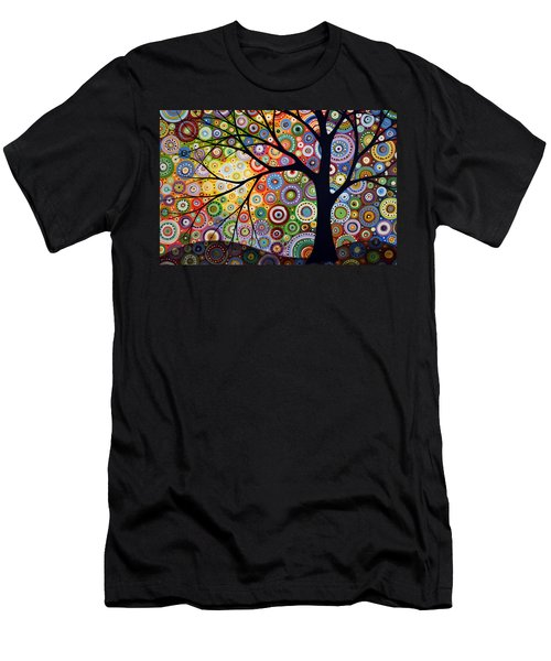 Abstract Original Modern Tree Landscape Visons Of Night By Amy Giacomelli Men's T-Shirt (Slim Fit) by Amy Giacomelli