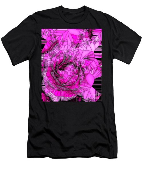 Abstract Pink Rose Mosaic Men's T-Shirt (Athletic Fit)