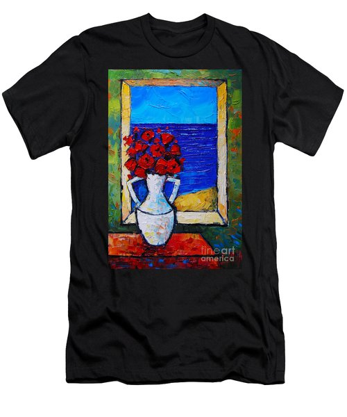 Abstract Poppies By The Sea Men's T-Shirt (Athletic Fit)