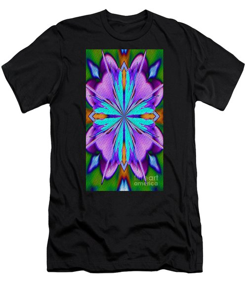 Abstract Purple Aqua And Green Men's T-Shirt (Athletic Fit)