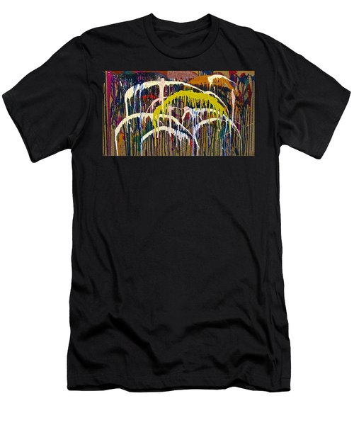 Abstracts 14 - Downtown With Umbrellas Men's T-Shirt (Athletic Fit)