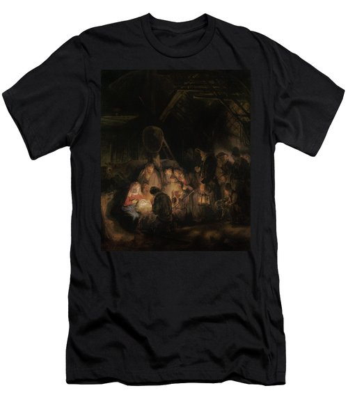 Adoration Of The Shepherds, 1646 Oil On Canvas Men's T-Shirt (Athletic Fit)