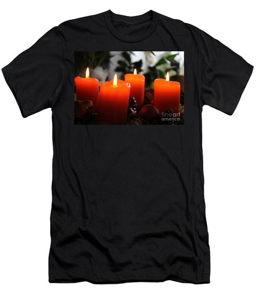 Men's T-Shirt (Slim Fit) featuring the photograph Advent Candles Christmas Candle Light by Paul Fearn
