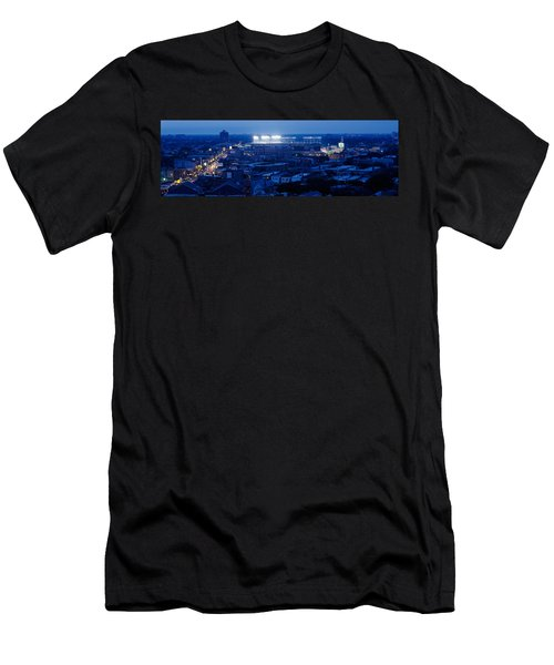 Aerial View Of A City, Wrigley Field Men's T-Shirt (Slim Fit) by Panoramic Images