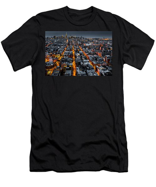 Aerial View Of New York City At Night Men's T-Shirt (Athletic Fit)