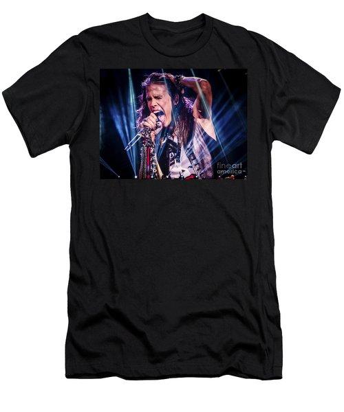 Aerosmith Steven Tyler Singing In Concert Men's T-Shirt (Athletic Fit)